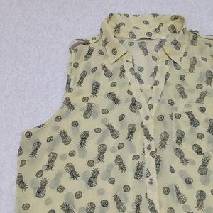 Reitmans pineapple sheer blouse